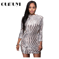 OUMUYI Fashion Sequin Bodycon Dress Sexy Christmas Champagne Detail Open Back Party Mini Club Party Dress