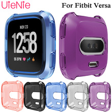 цена на Tpu color transparent case for Fitbit Versa Smart Watch dial Accessories Frame Cases Protective