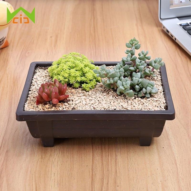 Garden Planter Nursery Square Flower Pot Plant Bowl Bonsai Succulent Basin