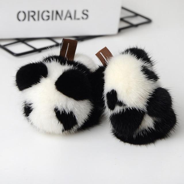 Bonito Fofo Genuíno Real Mink Fur Pom Pom Panda de Pelúcia Keychain do Anel Chave Chaveiro Pingente Charme Acessórios do Saco Das Mulheres