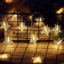 цены 1M/3M/6M/10M LED Star Fairy Garland String Lights Novelty For New Year Christmas Wedding Home Indoor Decoration Battery Powered