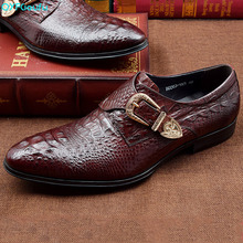 QYFCIOUFU Luxury Men Monk Strap Shoes Oxford Genuine Leather Crocodile Pattern Dress British Style Office Formal