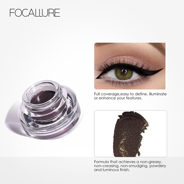 FOCALLURE 2pcs/set  Black Eyeliner Gel Cream waterproof long lasting eyeliner professional eyebrow gel with brushes 3