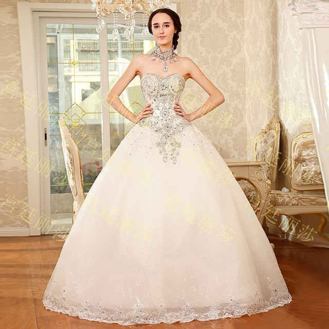 652017 New Luxurious Crystal Strapless Wedding Dress Top Bowknot Gowns Princess Lace Up Cute