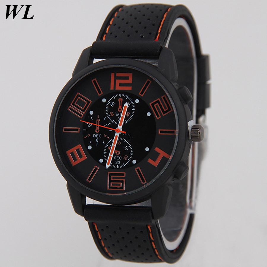 Free Drop Shipping Newest Fashion Men Silicone Big Dial time Clock Watch Christmas Gifts Line Shadow Sports Quartz Wristwatch old antique bronze doctor who theme quartz pendant pocket watch with chain necklace free shipping