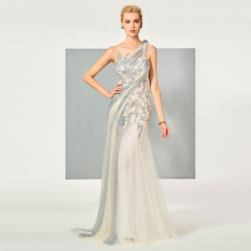 Tanpell scoop evening dress appliques zipper-up floor length gown party prom custom formal evening dress robe de soiree 2019