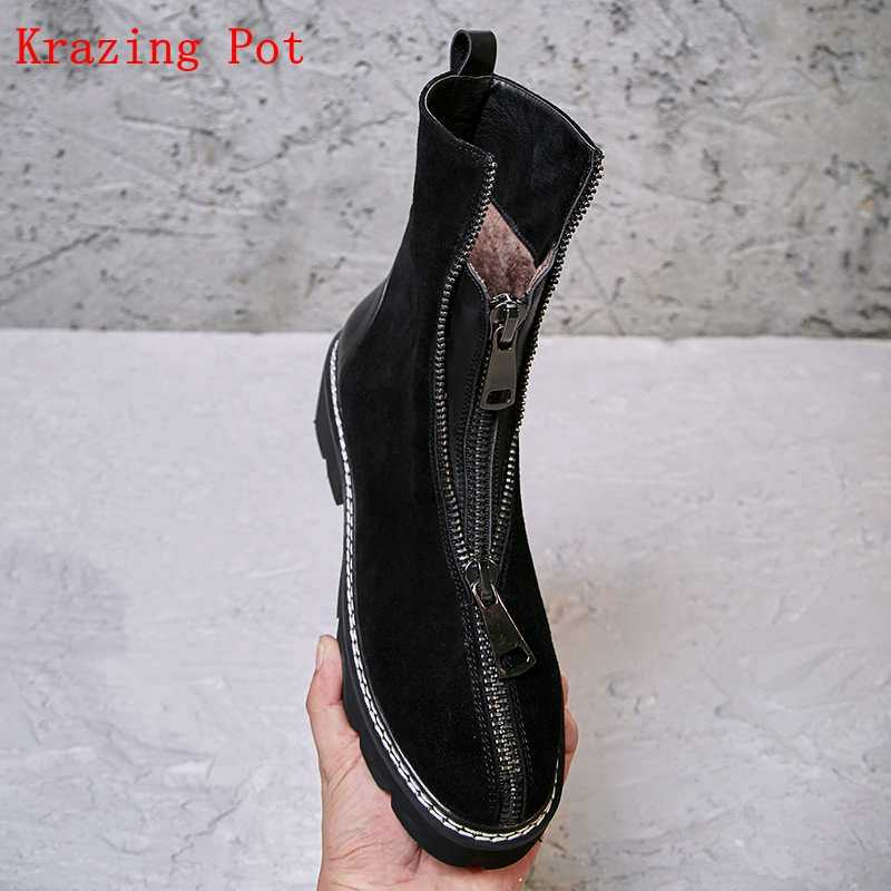Krazing Pot inek süet yuvarlak ayak kalın yüksek topuklu platform Batı botları parti kariyer ofis bayan ön fermuar yarım çizmeler L16