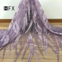 HFX African Handmade Beads Lace Fabric 2019 High Quality nigerian french luxury full beaded bridal lace fabric 5yards F1695