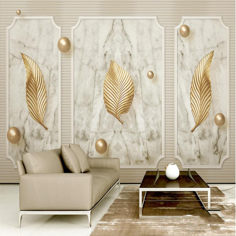 Custom Photo Wallpaper Luxury 3D Wall Murals Golden Leaf Marble 3D Stereoscopic Wallpaper for Living Room TV Hotel Wall Stickers giraffe 3d wall stickers living room decoration