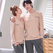 Men Clothing Autumn 100% Cotton Couple Pajamas Men Womens Pijama Lady Pajama Sets Fashion Lounge Sleepwear Gift
