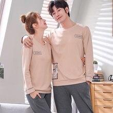 Pijama de algodón para hombre y mujer, ropa de otoño, 100%, a la moda, regalo para dormir