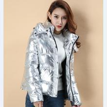 Kobiety zimowe kurtki Krótki styl 2016 panie parka ciepły płaszcz Srebrny metal kolor chleba winterjas dames abrigos mujer invierno