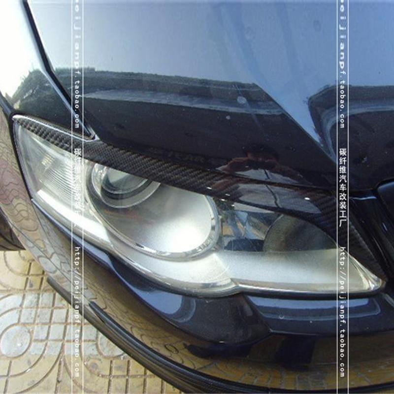 B6 R36 Carbon Fiber Car Headlight Eyebrows Cover Trim Sticker For Volkswagen VW Passat B6 R36 2006-2010