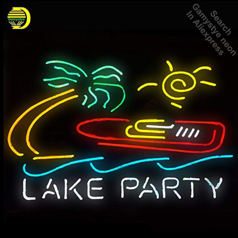 Neon Sign Lake Party neon Light Sign Palm Tree Beer Bar Pub Sign Custom logo Design Hand ...
