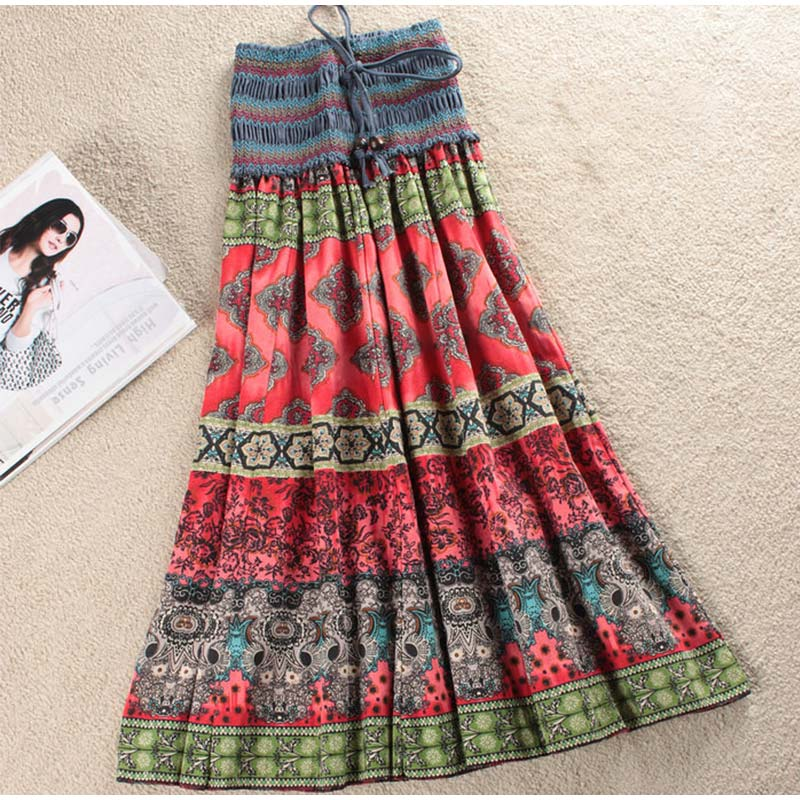 HTB1ZNb3SMHqK1RjSZFkq6x.WFXay - Boho Floral A-line Women's Maxi Skirt Elastic High Waist Sashes Vintage Pleated Womens Skirts Summer Fashion Clothes Female