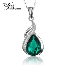 JewelryPalace  Women 3.5 ct High Quality Created Emerald Pendant Set Pure 925 Sterling Solid Silver Jewelry Without Chain