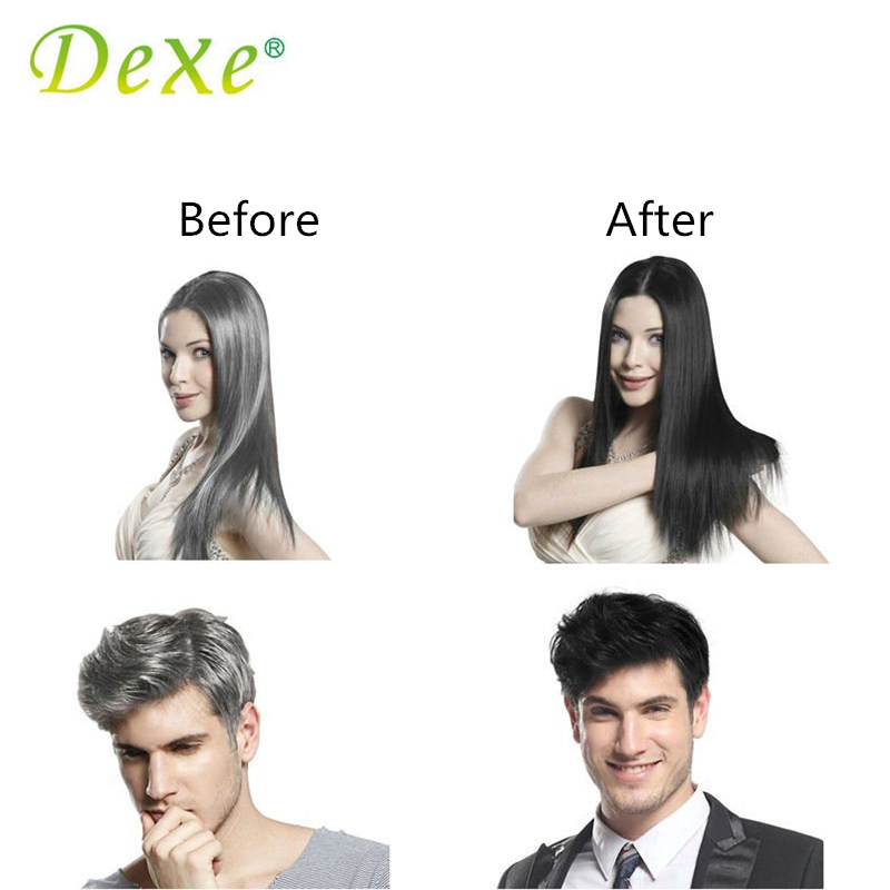 Купить с кэшбэком 5pcs/lot Dexe Black Hair Shampoo Only 5 Minutes Grey Become Black Hair Color Hair Dye