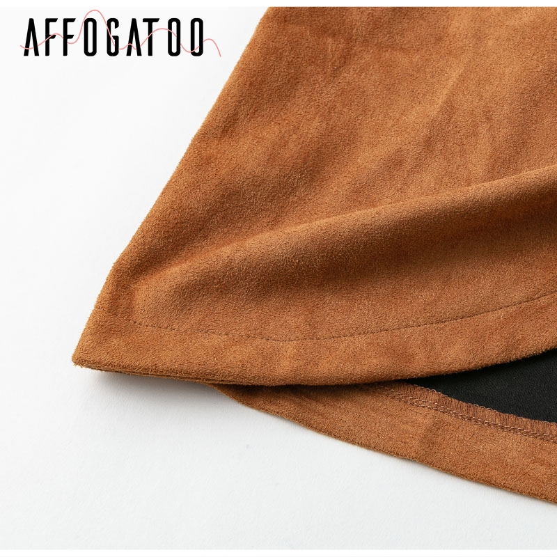 Affogatoo High waist suede leather skirts 18 Autumn winter belt ruched bodycon skirt Women asymmetric short skirts female 15