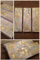 Dafen Oil Painting Factory Supply High Quality Hand painted Abstract Gold Oil Painting on Canvas 3 Panels Abstract Oil Painting