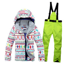 Pants-Set Snow-Costumes Ski-Suit Snowboarding Waterproof Women Jacket Skiing Warm Thick