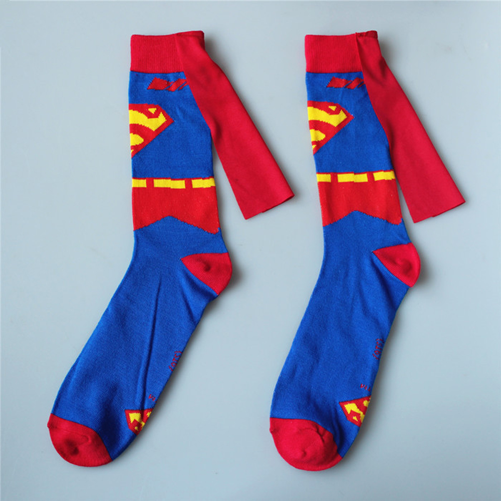 Hot Men Woman Superman Costume Cosplay Stockings Knee-High Couples Socks Cotton Calf Socks Spring Autumn Sports Socks With Cape