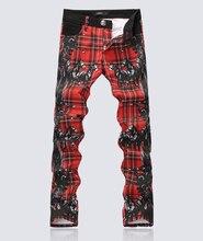 Горячие продажи Моды красный плед мужчины лошадь печати джинсы классический Окрашенные тонкий Карандаш Брюки