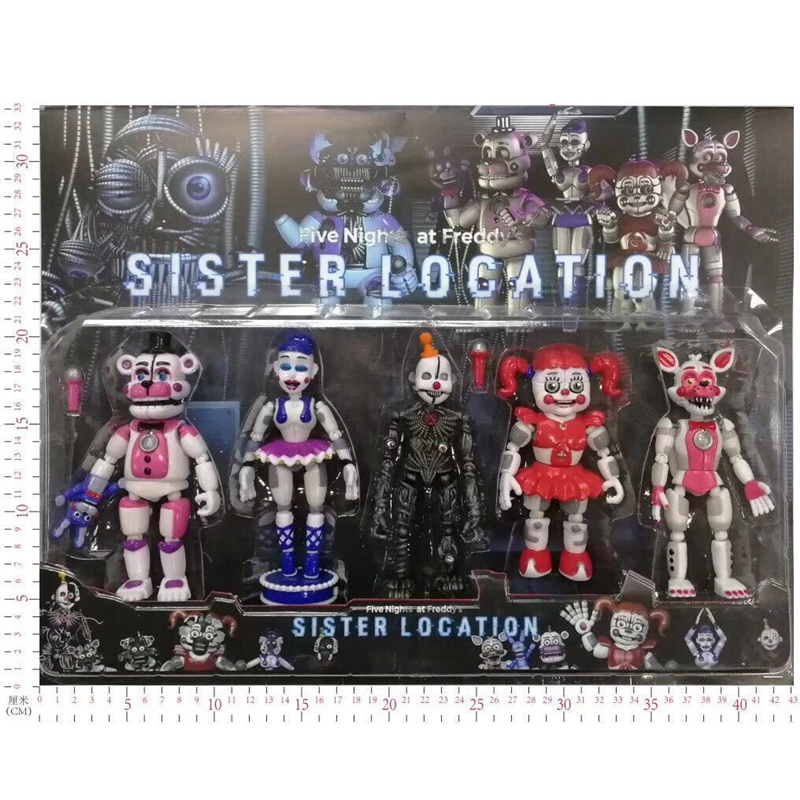 Five Nights at Freddys Toys Action Figure With LED Light Horror Game Funtime Freddy Ballora Circus Babys Pizza World Figurine