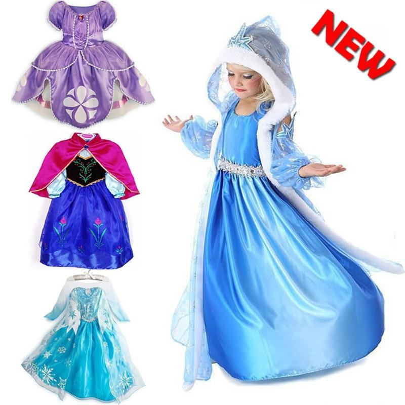 Original Princess Snow White Cinderella Dresses Costumes: 2016 Baby Girls Dress Elsa Dress Anna Cosplay Costume