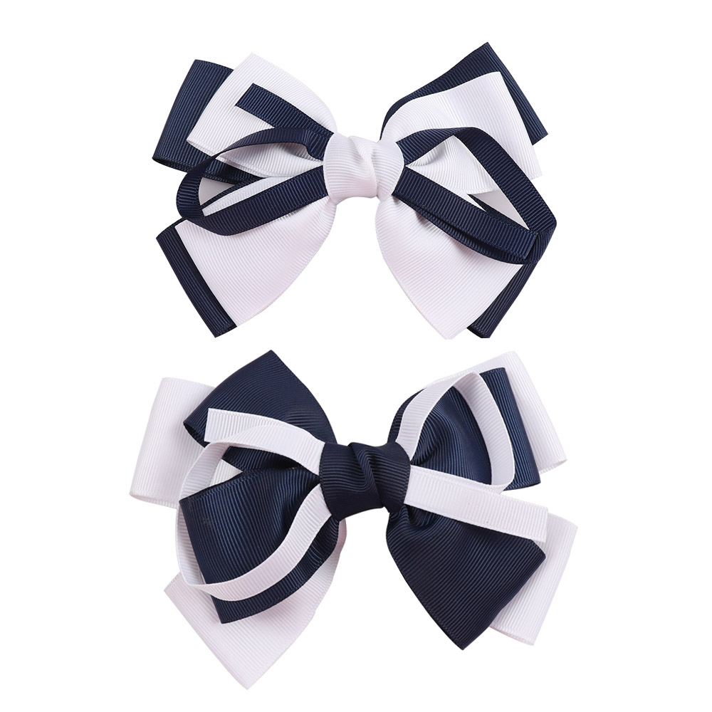 2pcs 5.5 Inch Boutique Grosgrain Ribbon Hair Bow High Quality School Girls Hair Accessories Hair Bows With Clip Hairgrips