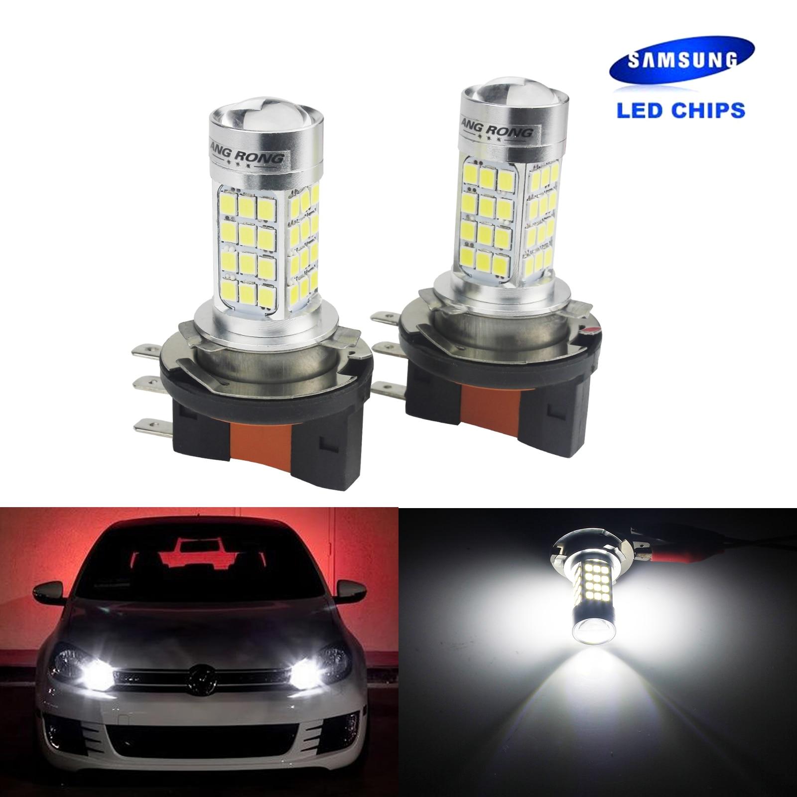 ANGRONG 2x H15 64176 Bulbs SAMSUNG LED Daytime Running Light For VW Golf GTI MK6 MK7 2008+ источник света для авто 2 vw mk6 80w h15 cree 450lm 12v