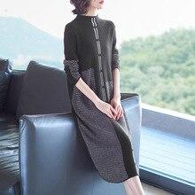 Half turtleneck elastic knit patchwork wool sweater dress 2018 new women autumn winter a line
