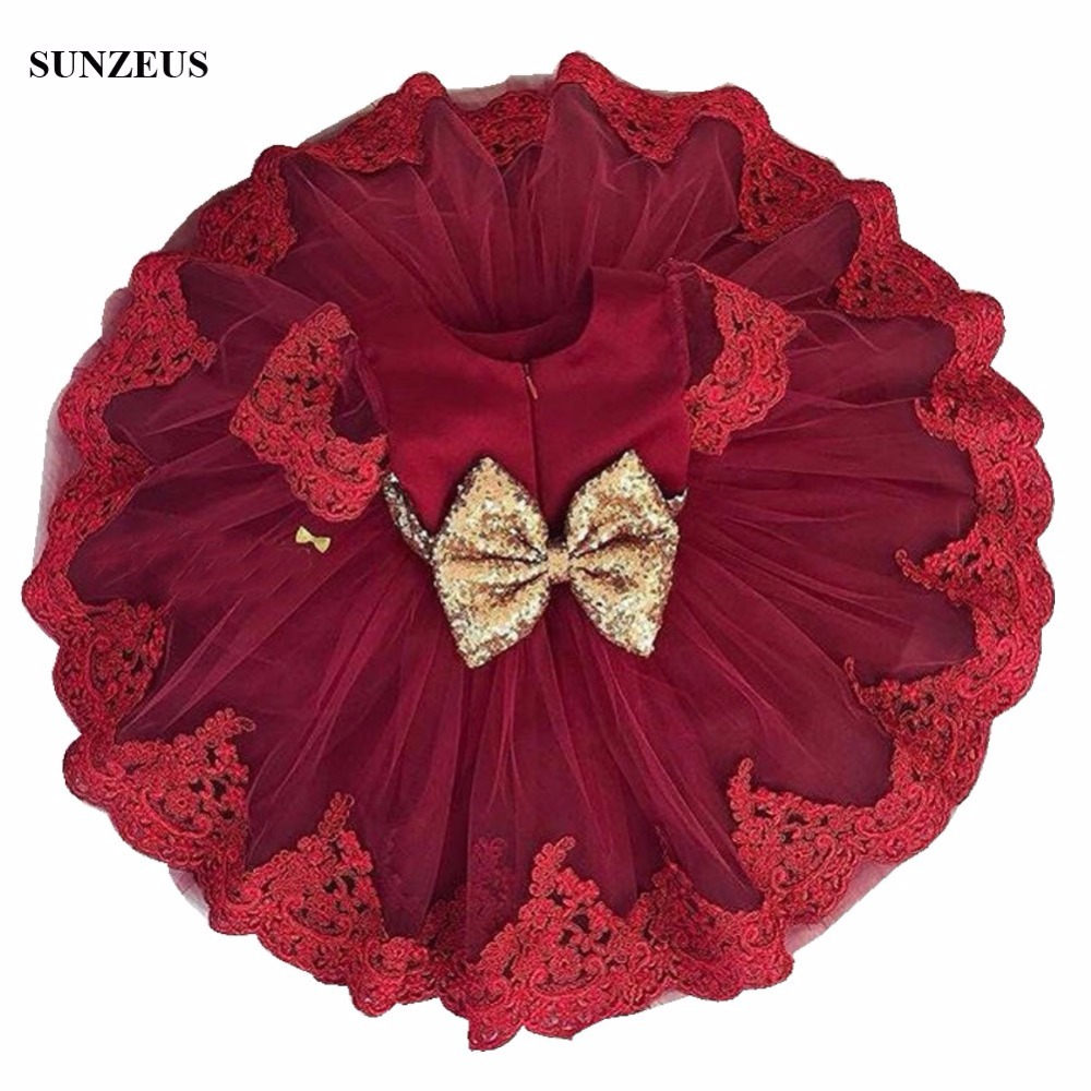 Wine Red   Flower     Girl     Dress   Cute Ball Gown Knee Length Short Sleeve Children Party Gowns With Appliques Sequins Bow FLG034