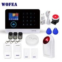 Wofea wifi GSM беспроводной против взлома охранная сигнализация для дома бизнес приложение управление сирена RFID детектор движения на основе пасс...
