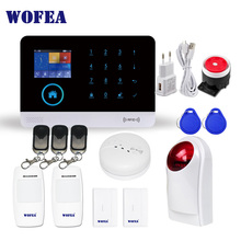 Wofea wifi GSM Wireless Burglar Security Alarm System for Home Business APP Control Siren RFID Motion Detector PIR Smoke Sensor