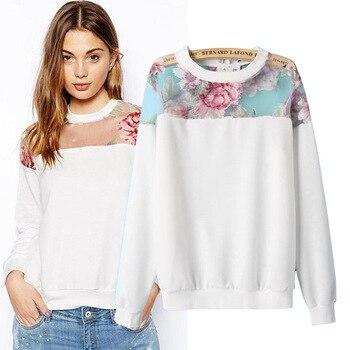 Fashion women sweatshirts vestidos long sleeve o-neck chiffon white cotton stitching plus floral print shirt size S-XXXL