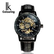 IK Automático Esquelético Mecánico Reloj de Los Hombres de Primeras Marcas de lujo Reloj Relojes Correa de Cuero de Moda Casual Masculina Impermeable F