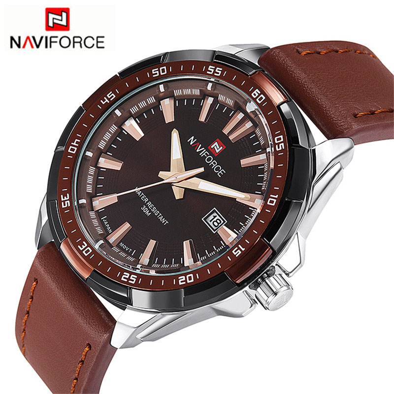 2016 NAVIFORCE Brand Men's Fashion Casual Sport Watches Men Waterproof Leather Quartz Watch Man military Clock Relogio Masculino weide popular brand new fashion digital led watch men waterproof sport watches man white dial stainless steel relogio masculino