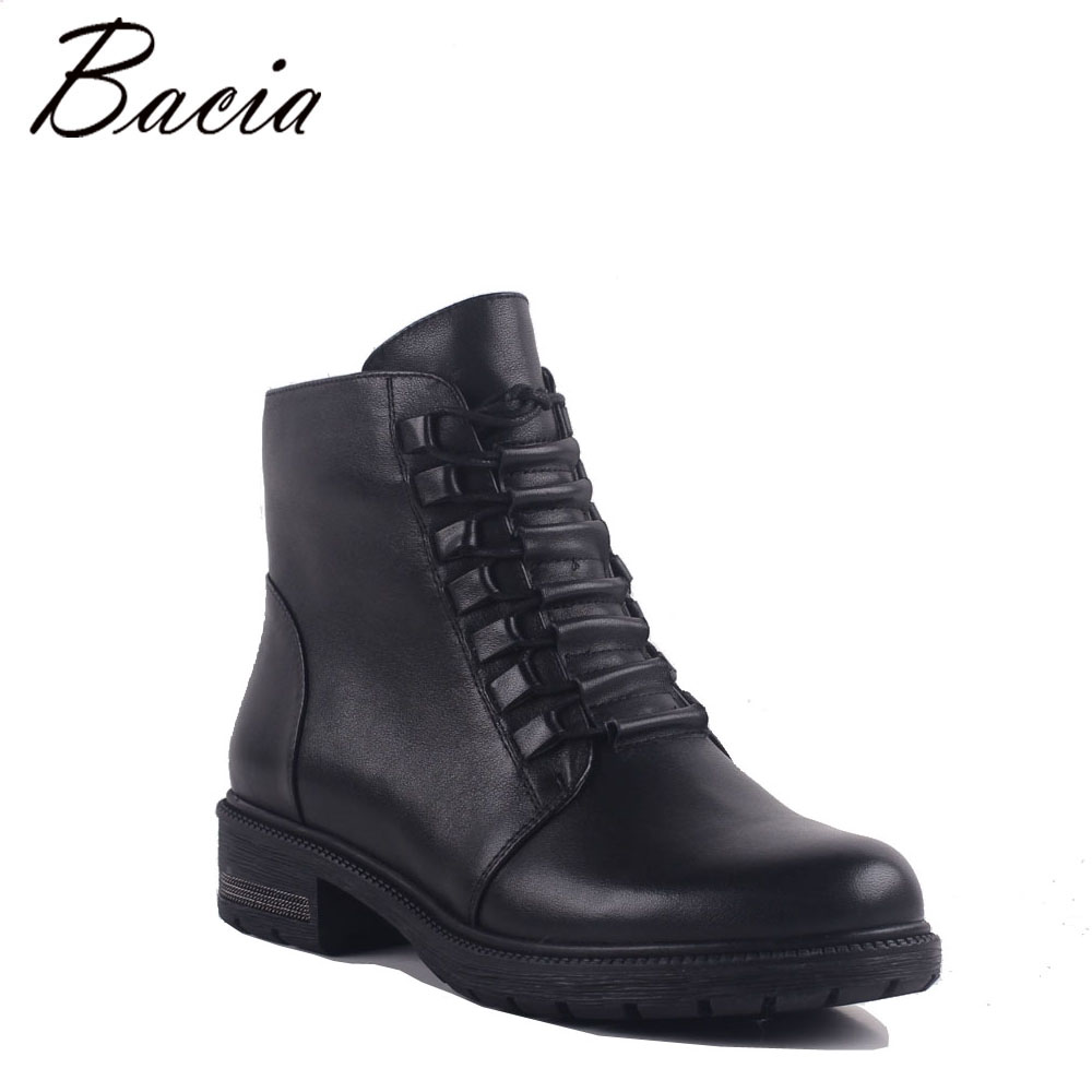 Bacia Woman Fashion Genuine Leather Motorcycle Ankle Boots Female Lace Up Low Heels Platform Comfortable Autumn Shoes MB023 front lace up casual ankle boots autumn vintage brown new booties flat genuine leather suede shoes round toe fall female fashion