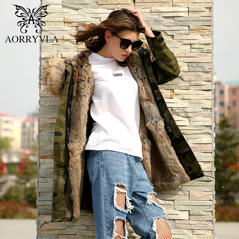 AORRYVLA 2018 Winter Jacket Long Women Green Camouflage Large Raccoon Fur Collar Hooded With Rabbit Fur Lining Thick Warm   Parka