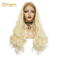 Ebingoo Gold Blonde High Temperature Fiber Long Water Wave Wigs Synthetic Lace Front Wig For White Women Daily Use 180% density