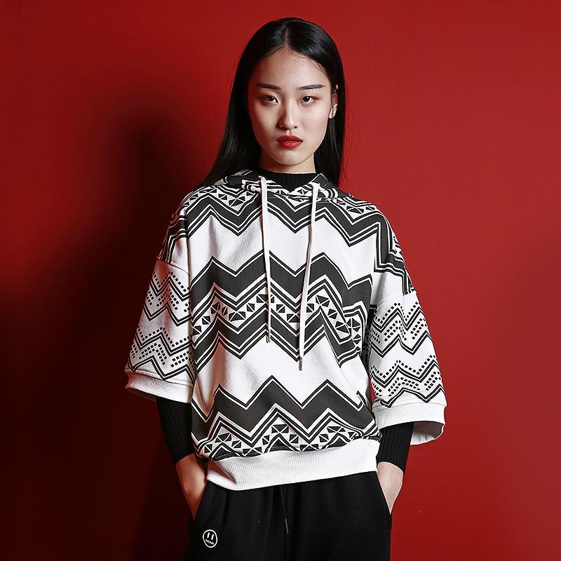 MENOGGA Hoddies pur coton sweat femmes à manches courtes classique noir et blanc libre Style sauvage Streetwear Couple vêtements