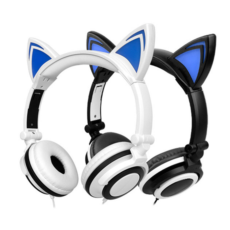 Foldable Flashing Glowing Headphone Cat Ear Stereo Headphones 3.5mm Music Headset With LED Light For PC Laptop Mobile Phone Mp3 foldable cat ear headphones gaming headset earphone with glowing led light for phone computer best halloween gift for girls kids