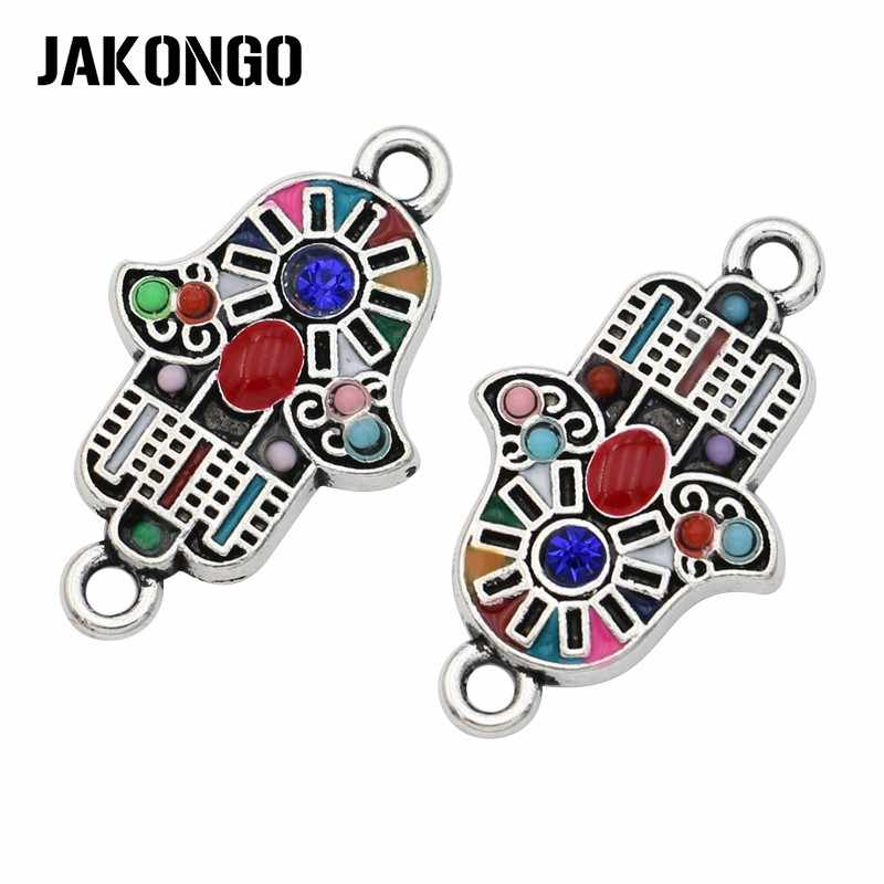 JAKONGO Antique Silver Plated Colorful Crystal Fatima Hand Connectors for Jewelry Making Bracelet Accessories DIY Craft 24x14mm