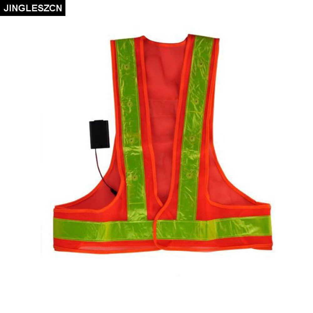 JINGLESZCN Flashing LED Safety Vest Reflective Workers With LEDS And 2 Flashing Functions Ultra Bright Orange Strips Outdoor New