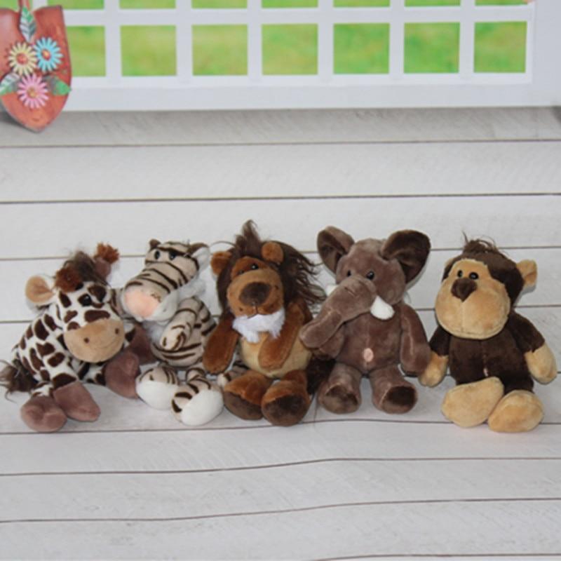 5pcs14cm To 15cm Pendant Keychain Germany NICI Jungle Brother Tiger Elephant Monkey Lion Giraffe Plush Animal Toy Free Shipping