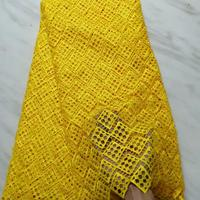 2018 latest african guipure lace yellow water soluble chemical lace fabric,high quality african cord lace FF166 2