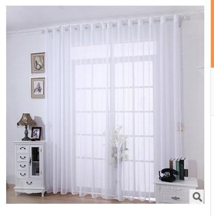 Balcn del saln cortinas ventana de gasa blanca gruesa de lino