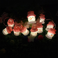Christmas decor light Snowmen with pink hat led string lights battery powered wholesales backyard party decoration lighting