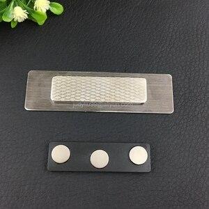 Image 2 - 10 stücke förderung 70X20mm blank (kein druck) metall name tag spiegel abzeichen halter mit magnet oder pin