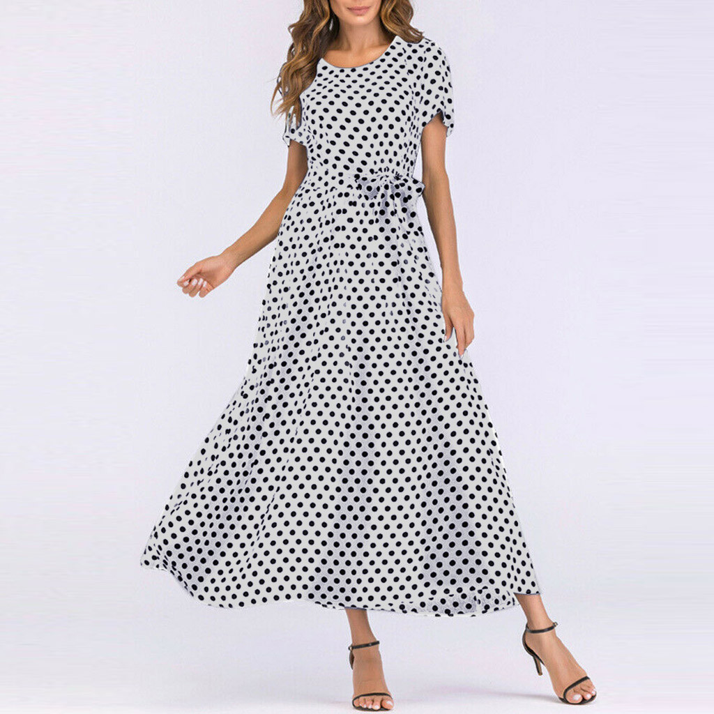 HTB1ZNe0aBKw3KVjSZFOq6yrDVXa9 - Summer Dress Women O-Neck Short Sleeve Boho Polka Dot Bandage Maxi Long Dress Women Beach Sundress Plus Size Vestidos